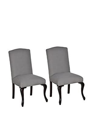 Set of 2 Chloe Side Chairs, Brown/Pencil