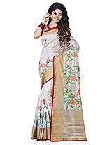 Meghdoot Artificial Tussar Silk Saree (RA6623_CREAMxRED Embroidered Cream and Red Colour Sari)