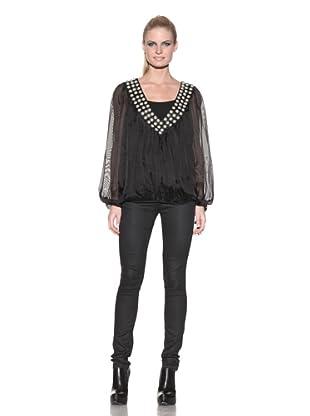 Sheri Bodell Women's Matisse Long Sleeve Blouse with Beaded Neck (Black)