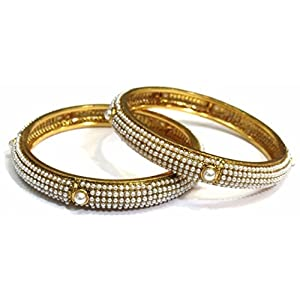 Shingar jewellery antique gold look bangles set in 2.4 size for women (5925-m-2.4-a)