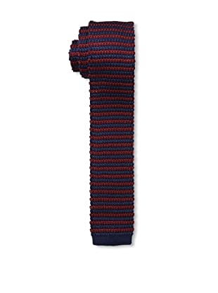 Desanto Men's Stripe Knitted Tie, Bordeaux/Navy