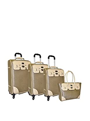Adrienne Vittadini Saffiano 4-Pc Luggage Set, Olive