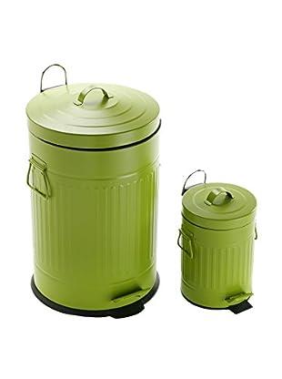 Zings Set Cubo De Basura Con Pedal 2 Uds. 3 L + 20 L Verde