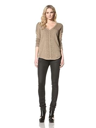Jamison Women's V-Neck Studded Sweater (Mocha)