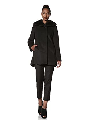 Hilary Radley Women's Wing Collar Coat with Rabbit Fur (Charcoal)
