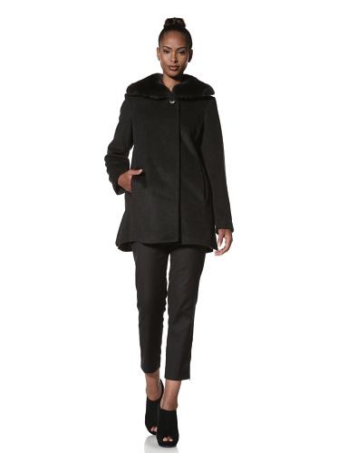 Hilary Radley Women's Wing Collar Coat with Rabbit Fur (Charcoal)
