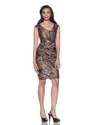 Lela Rose Women's V-Neck Dress with Wrapped Skirt (Copper)
