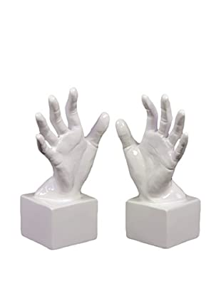 Urban Trends Collection Ceramic Hand Bookends, White