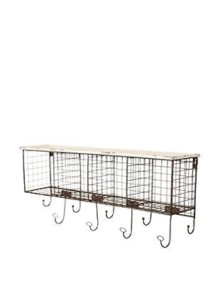 Linon Home Décor 4-Cubby Wall Shelf, Black/White