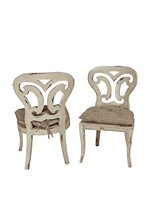 Guildmaster Pair of Artifacts Side Chairs, Antiqued White