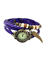 Vintage Collections Leather Strap Wing Womens Wrist Watch