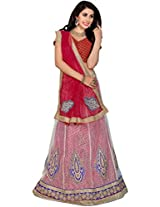 Manvaa White and Red Net Embroidered A-Line Semi Stitched Lehenga