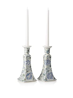 Dynasty Gallery Set of 2 Porcelain Candle Holders (Blue/White)