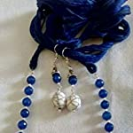 German silver necklace set with semiprecious agate beads