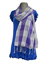 Sofias Exclusive Viscose Woven Medium Shawl,Size-70 cms x 200 cms,Color-Purple / Grey