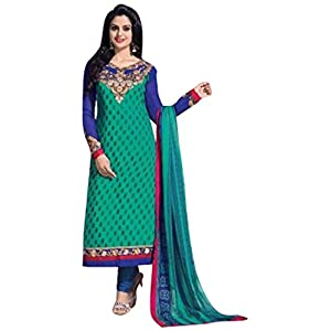 Georgette Embroidered Green Semi Stitched Straight Fit Suit - 2001