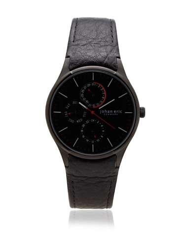 Johan Eric Men's JE4001-13-007 Streur Black IP Leather Watch