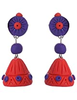 Nidarsha - Red and Violet Polymer Clay Long jhumka