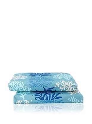 Waverly Set of 2 Sun-n-Shade Marine Life Squared Seat Cushions (Pool)