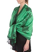FUPashRose06AG Lightweight Two Tone Rose Floral Design Pashmina Fringe Scarf / Stole / Wrap - Kelly Green / Black