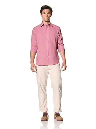 Haspel Men's Lightweight Linen Shirt (Solid Mauve Linen)
