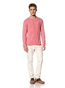 """Creep by Hiroshi Awai Men's Cable Knit """"Gypsy"""" Sweater (Red)"""