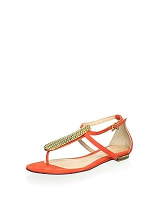 Schutz Women's T-Strap Sandal (Tomato/Gold)