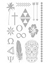 Metallic Silver Jewelry Inspired Temporary Bling Tattoo by Eufouria Inc. YW-013