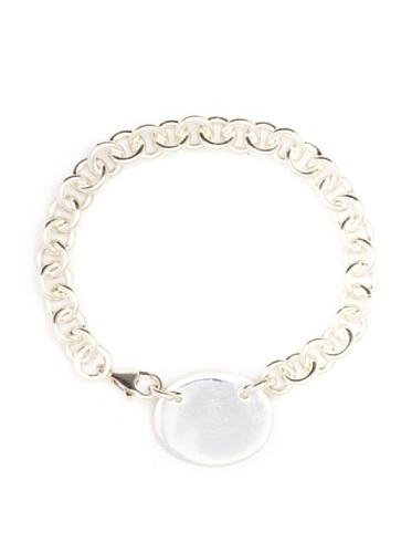 Argento Vivo Oval Engrave Disk Bracelet, Silver