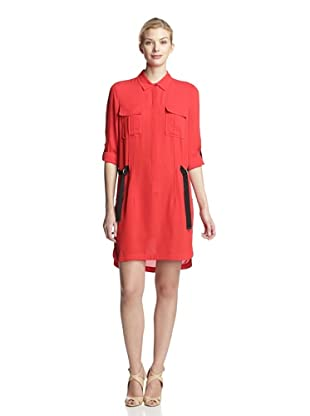L.A.M.B. Women's Silk Shirt Dress (Red/black)