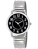 Anne Klein Women's 10/9111BKSV Easy-to-Read Black Dial Silver-Tone Expansion Band Watch