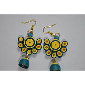 Quillings by SSE - Pretty Yellow Hangings Earring