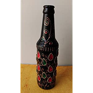 Artiliciously Your'S Beaded Tear Drops Painting On Recycled Glass Bottle