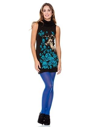 LAVAND Vestido Rosas I (Azul Oscuro)