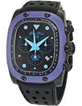 Glam Rock Watches, Men's Gulfstream Chronograph Black Dial Blue Ceramic Case Cover Black Silicone, Model GR70107