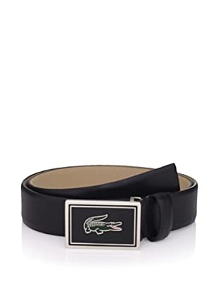 Lacoste Men's Feather Edge Strap Belt (Black)