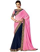 Inddus Women Pink Embroidered & Embellished Bridal Saree