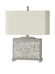 Leaf Laser-Cut Table Lamp, Grey/White