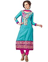 Vibes Pure Cotton Dress Material (V166-15008_BLue