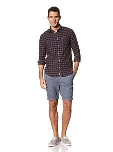 FARAH Men's The Fenn Check Long Sleeve Woven Shirt (Granata)