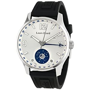 Louis Erard Men's 48223AA01.BDE09 1931 Automatic Luminous Silver Dial Black Rubber Watch