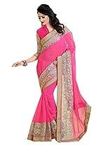 Ishin Georgette Pink Embellished Saree