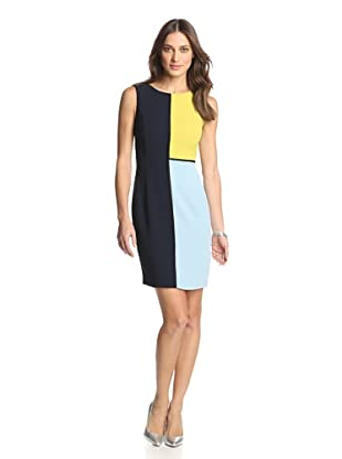 Nue by Shani Women's Colorblock Crepe Dress (Ink/Citrine)
