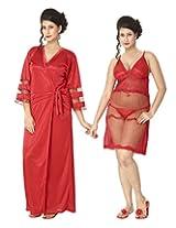 KuuKee Women's Satin Red colored nightwear (10009_Red_L)