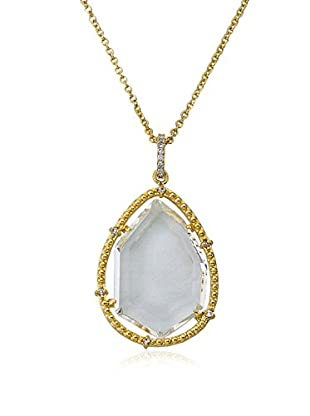 Riccova Sliced Glass Teardrop Pendant Necklace with CZs