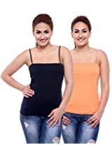 TeeMoods Pack of Two Women's Camisoles_TM-C-1509NAVY&SKIN-L