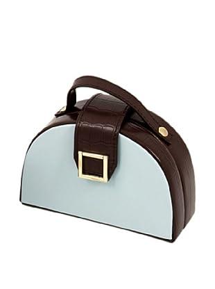 Leather Jewelry Box, Aqua Blue