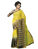 Suvastram Faux Georgette Saree With Blouse Piece (Surs1383 -Yellow)