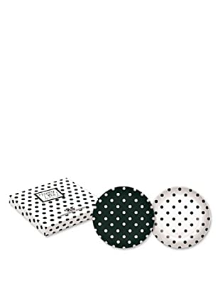 Easy Life Design Set 2 Piatti Dessert in Porcellana Bone China Happy Pois (Nero)