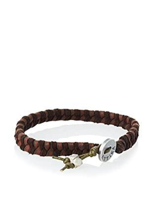 Ettika Men's Brown/Green Leather Braided Bracelet